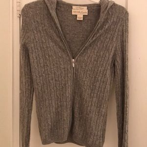 100% Cashmere Zip Hooded Cardigan